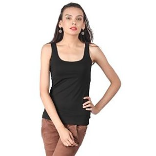Remanika Black Plain Round Neck Tank Tops