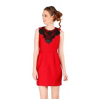 Remanika Shift Red Embroidered Women's Dress