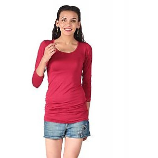Remanika Maroon Plain Round Neck Crop Tops