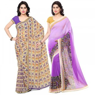 Rajnandini Multi Color Bhagalpuri Printed Cotton Saree (Combo Of 2)