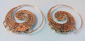 Tribal Handmade Spiral Gold Plated Brass Hoop Earrings Jewel