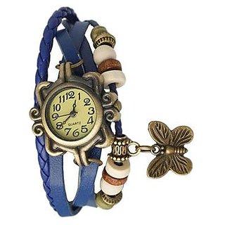 Round Dial Blue Leather Strap Womens Quartz Watch Unique Enterprise