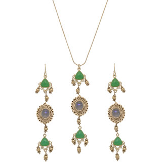 Jewels Tree Party Wear Wedding and casual Pendant  earring set (Crysophase,Calcedony) For Women/Girls