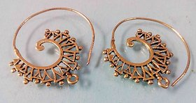 Handmade Spiral Gold Plated Brass Hoop Earrings Jewel