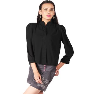 Remanika Black Plain Shirt Collar Crop Tops