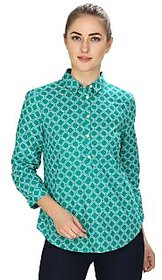 MansiCollections Green Printed Cotton Formal Shirts