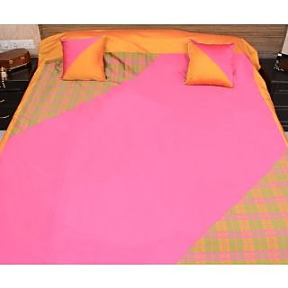 Home Kouture Polyester Silk Double Bed Cover (Green, Pink  Yellow)- 1 bed cover  2 cushion covers- Checks-Classic