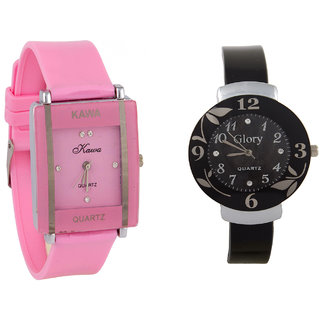 Glory  Combo Of Two Watches-Baby Pink Rectangular Dial Kawa And Black Circular Dial Glory Watche By Unique Enterpris