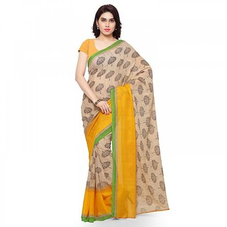 Thankar online trading Yellow & Cream Georgette Printed Saree With Blouse