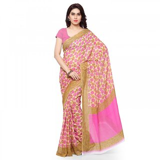 Thankar Pink  Cream Faux Georgette Printed Saree