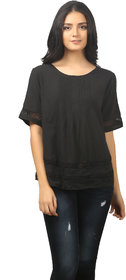 MansiCollections Black Solid Cotton Top