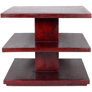Ikiriya 3 Shelves Solid Wood Coffee Table - Dark Walnut