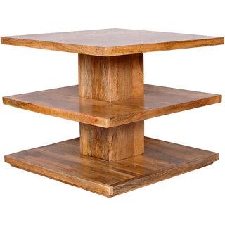 Ikiriya 3 Shelves Solid Wood Coffee Table - Natural
