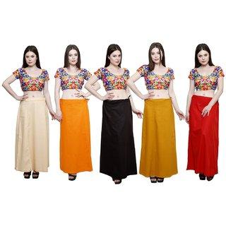 eFashionIndia Women Cotton Saree Petticoats Inskirt combo of 5