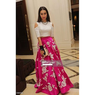 8f0fd85c9ef28 Bollywood Style Shraddha Kapoor Pink White Party Wear Crop Top Lehenga -  7270