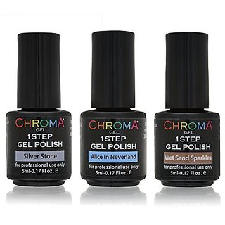 Chroma Gel 1 Step Gel Polish / Shades of Cool Collection 3x5ml / UV & LED Gel Nail Polish