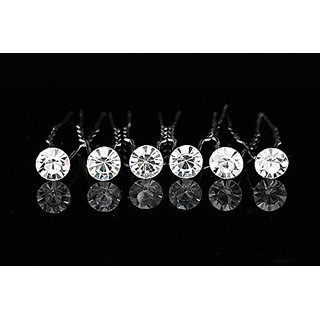 Set of 6 Single Rhinestone Crystal Solitaire Hair Pins H065
