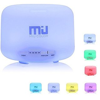 MIU COLOR 500ml Aromatherapy Essential Oils Diffuser, 7 Color Changing Aroma Diffuser, Large Mist Humidifier, Aromathera