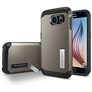 Galaxy S6 Case, Spigen [Tough Armor] HEAVY DUTY [Gunmetal] EXTREME Protection / Rugged but Slim Dual Layer Protective Co