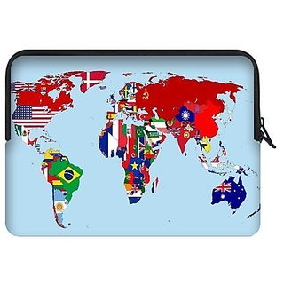 Custom World Map Water Resistant Neoprene Laptop Sleeve15 15.4 15.6 Inch Notebook Computer Bag Case Cover(Twin Sides)