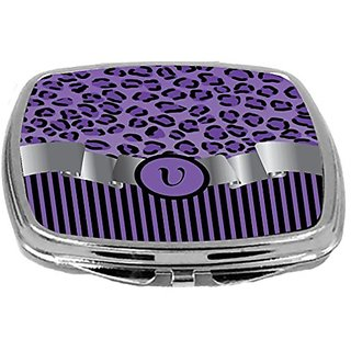 Rikki Knight Compact Mirror, Letter v Initial Purple Leopard Print and Stripes