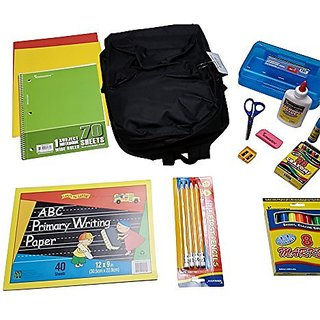 School Backpacks for Primary Kindergarten Filled with School Supplies (black)