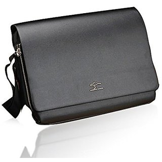 Foxnovo Mens Horizontal PU Shoulder Bag Messenger Bag - Size L (Black)