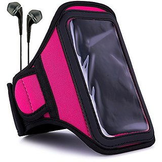 VanGoddy Armband Hot Pink Neoprene Sweat-proof w/ Key & ID Card Pouch fits Samsung : Galaxy ( J5 , A8 , S5 Neo , ON5 , O
