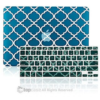TopCase 2 in 1 - Quatrefoil / Moroccan Trellis Aqua Blue Ultra Slim Light Weight Rubberized Hard Case Cover and Matching
