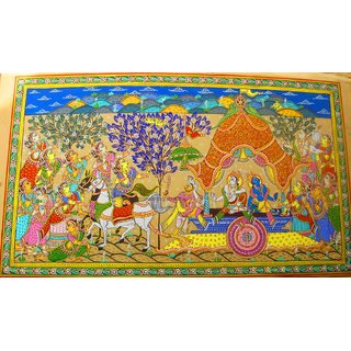 Pattachitra- Shri Krishna With Brother Returning To Mathura On Chariot