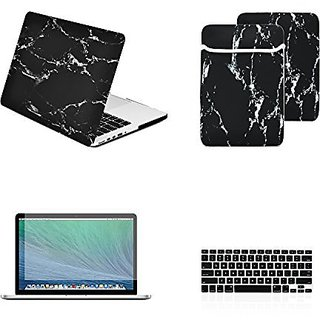 TOP CASE 4 in 1 Bundle - Retina 13-Inch Marble Pattern Rubberized Hard Case + Sleeve Bag + Keyboard Cover + Screen Prote