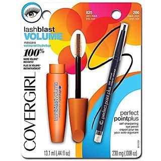 CoverGirl Lash Blast Volume Waterproof Mascara Very Black and Perfect Point Plus Eyeliner Black Onyx Special Pack, 0.026