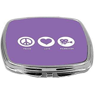Rikki Knight Peace Love Filmmaker Design Compact Mirror, Violet, 2 Ounce