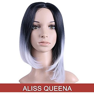 Alisss Queena(TM)Natural Black to Grey 2-tone Ombre Color Short Synthetic Straight Hair WIG