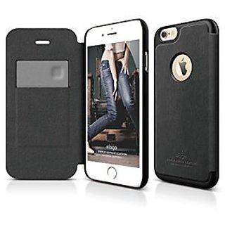 iPhone 6S Plus Case, elago [Leather Hole Flip][Black] - [Card Slot][Screen Protection][Premium Hybrid Construction] - fo