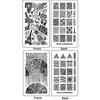 Ejiubas 2 Pcs Double-sided Modern Design Geometry Pattern New Nail Art Stamping Plates