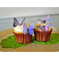 Edible Butterflies  - Small Purple Set of 24 - Cake and Cupcake Toppers, Decoration