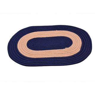 Design Crafts 100 Cotton Blue Oval Door Mat Size - MEDIUM (40X60CM)