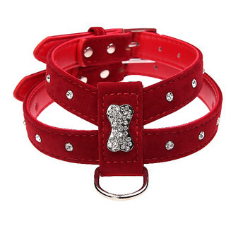 Futaba Bling Rhinestone Leather Puppy Collar Harness For Chihuahua Teacup - Red - Small