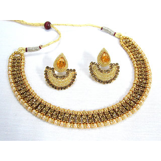 Golden Double Stone Tilak Necklace Set