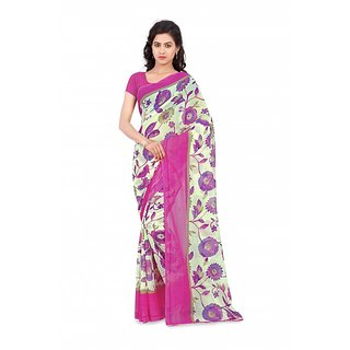 Thankar online trading Purple & White Georgette Printed Saree With Blouse