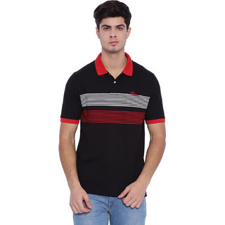 Edberry Men's  Black  Red Striped Polo Neck T-Shirt