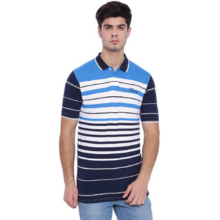 Edberry Men's  Blue White  Navy Striped Polo Neck T-Shirt