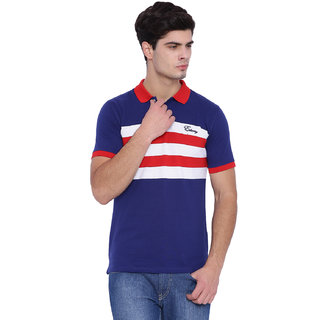Edberry Men's  Navy  WhiteStriped Polo Neck T-Shirt