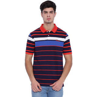 Edberry Men's  Navy blue White  Red Striped Polo Neck T-Shirt