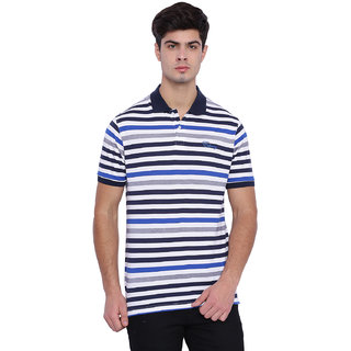 Edberry Men's  White Blue  Navy Striped Polo Neck T-Shirt