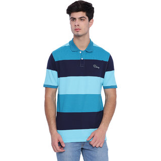 Edberry Men's  Navy  Blue Striped Polo Neck T-Shirt