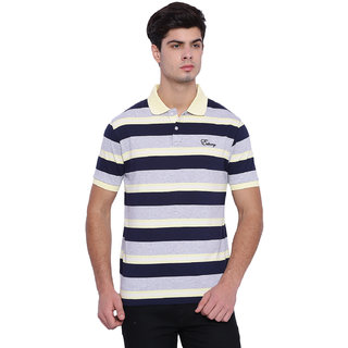 Edberry Men's  Navy  yellow  Grey Striped Polo Neck T-Shirt