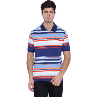 Edberry Men's  Multi colors Striped Polo Neck T-Shirt