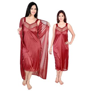 Satin 2 PC Nighty,Gown,sleepware ,night dress (M-404)